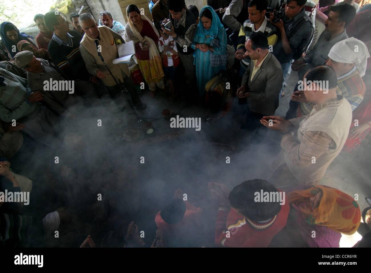 Mar 24, 2010 - Srinagar, Kashmir, India - Kashmiri Pandits worship inside a Ram temple during Ramnavmi in Srinagar, Stock Photo