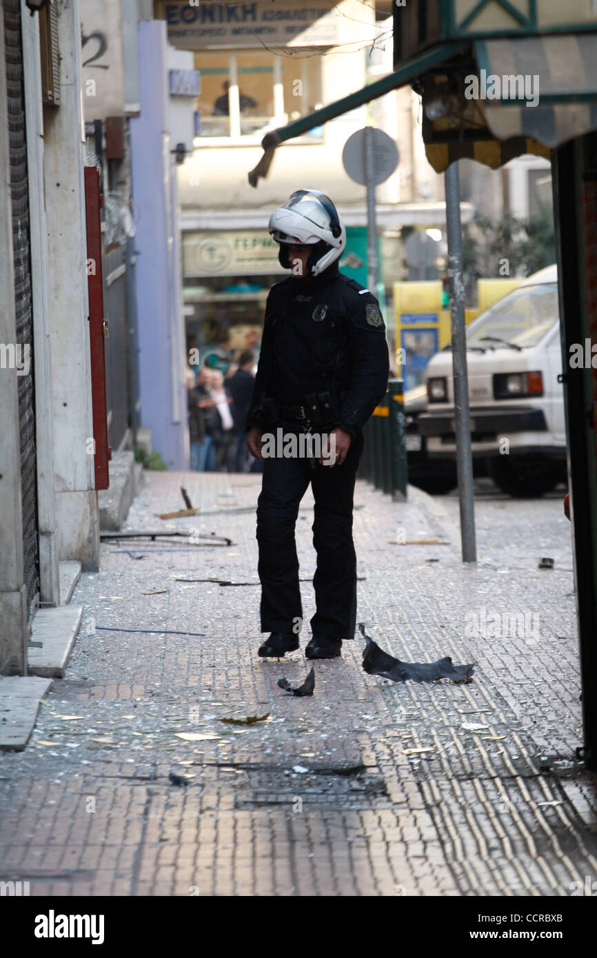 Mar. 19, 2010 - Athens, Greece - Bomb blast at the offices of extreme right wing-group ''Chryssi Avghi' (Credit Stock Photo