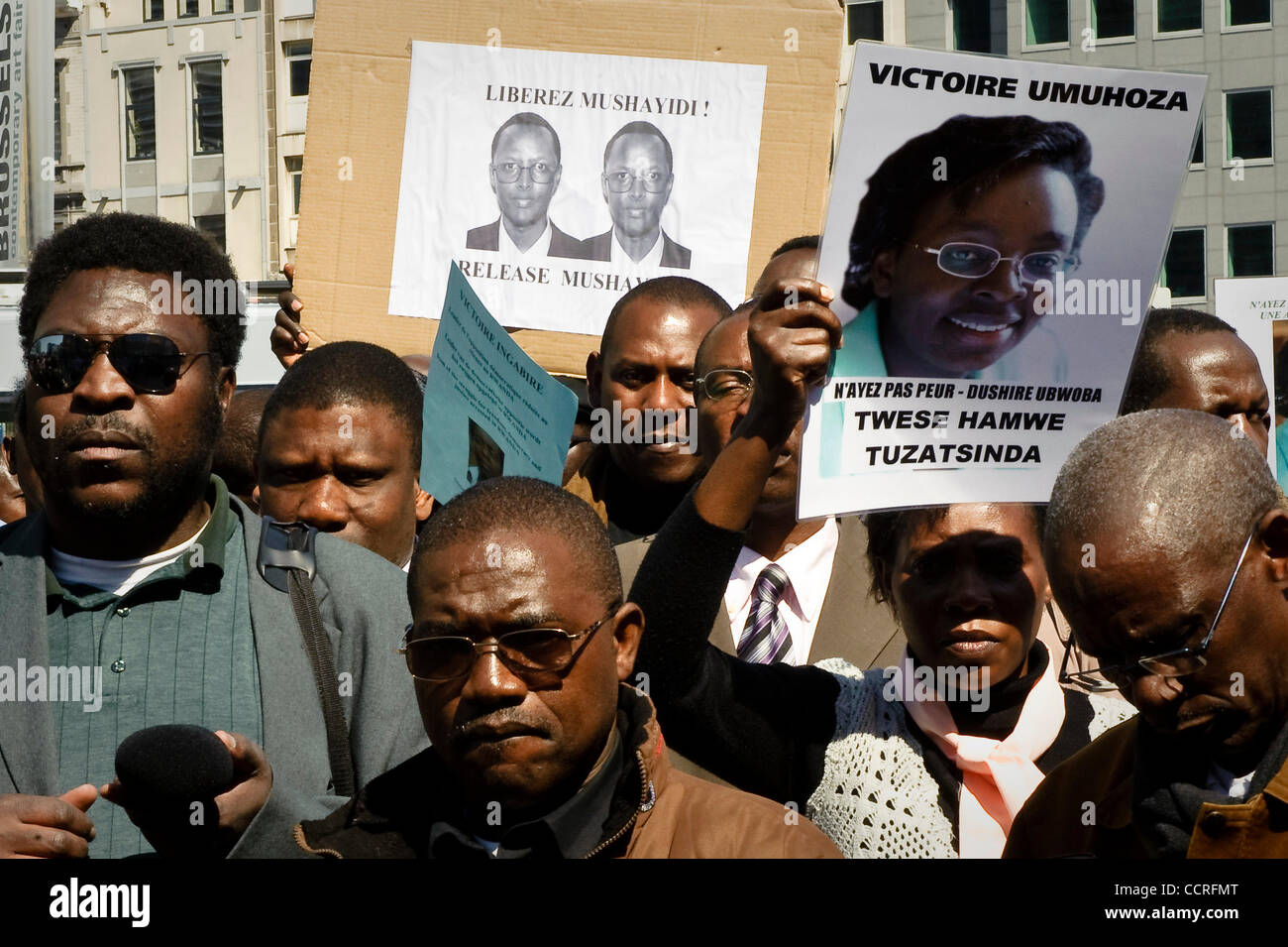 Demonstrators from Rwanda protest in front of  the building of the European Council  in  Brussels, Belgium on 2010 - Stock Image