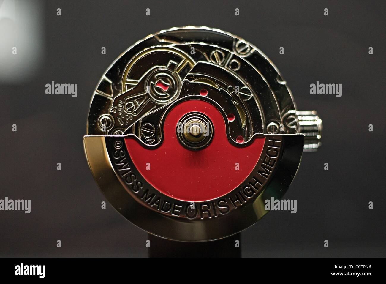 Mar 23, 2010 - Basel, Switzerland - ORIS watch mechanism is displayed at the exhibition stand of the Baselworld Stock Photo