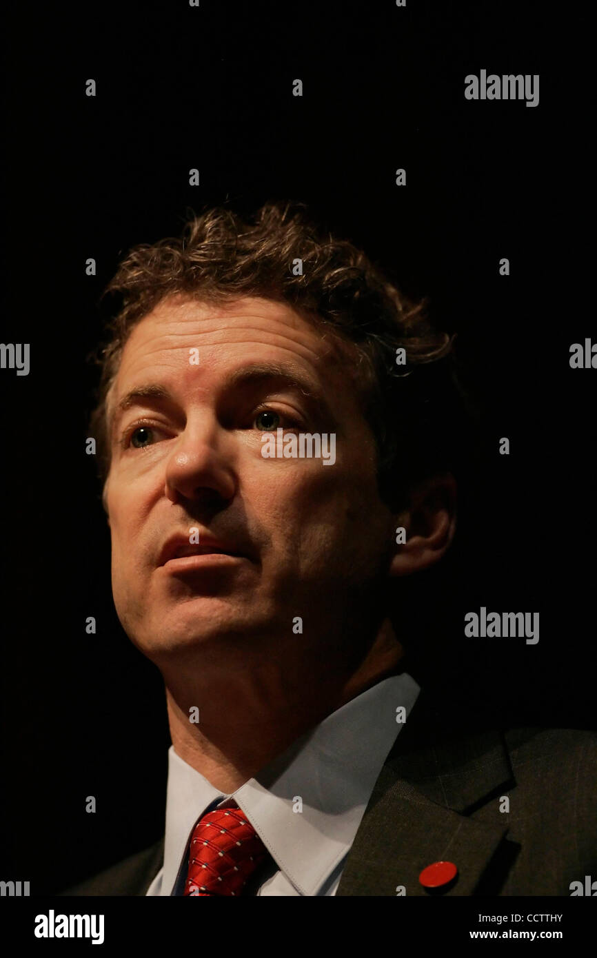 Republican Senate candidate RAND PAUL addresses supporters at the Russell County High School Auditorium/Natatorium. - Stock Image