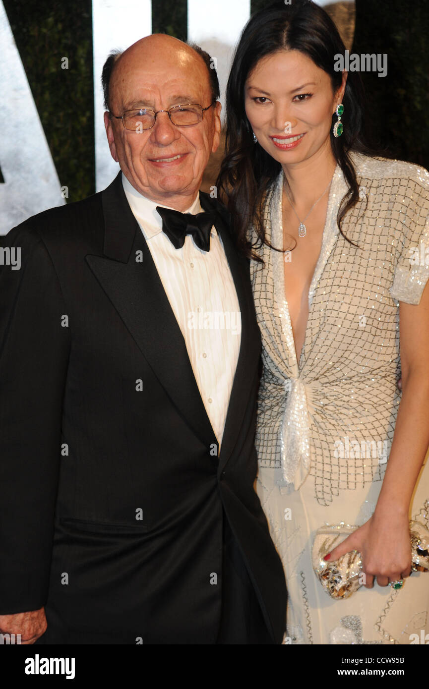 Rupert Murdoch and Wendi Murdoch arrive at the Vanity Fair Dinner And After Party celebrating the 82nd Academy Awards, - Stock Image