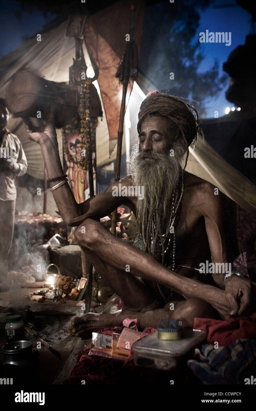 The darshan (the blessings) of all the magnificent saints and yogis who come out of their Himalayan caves only once - Stock Image