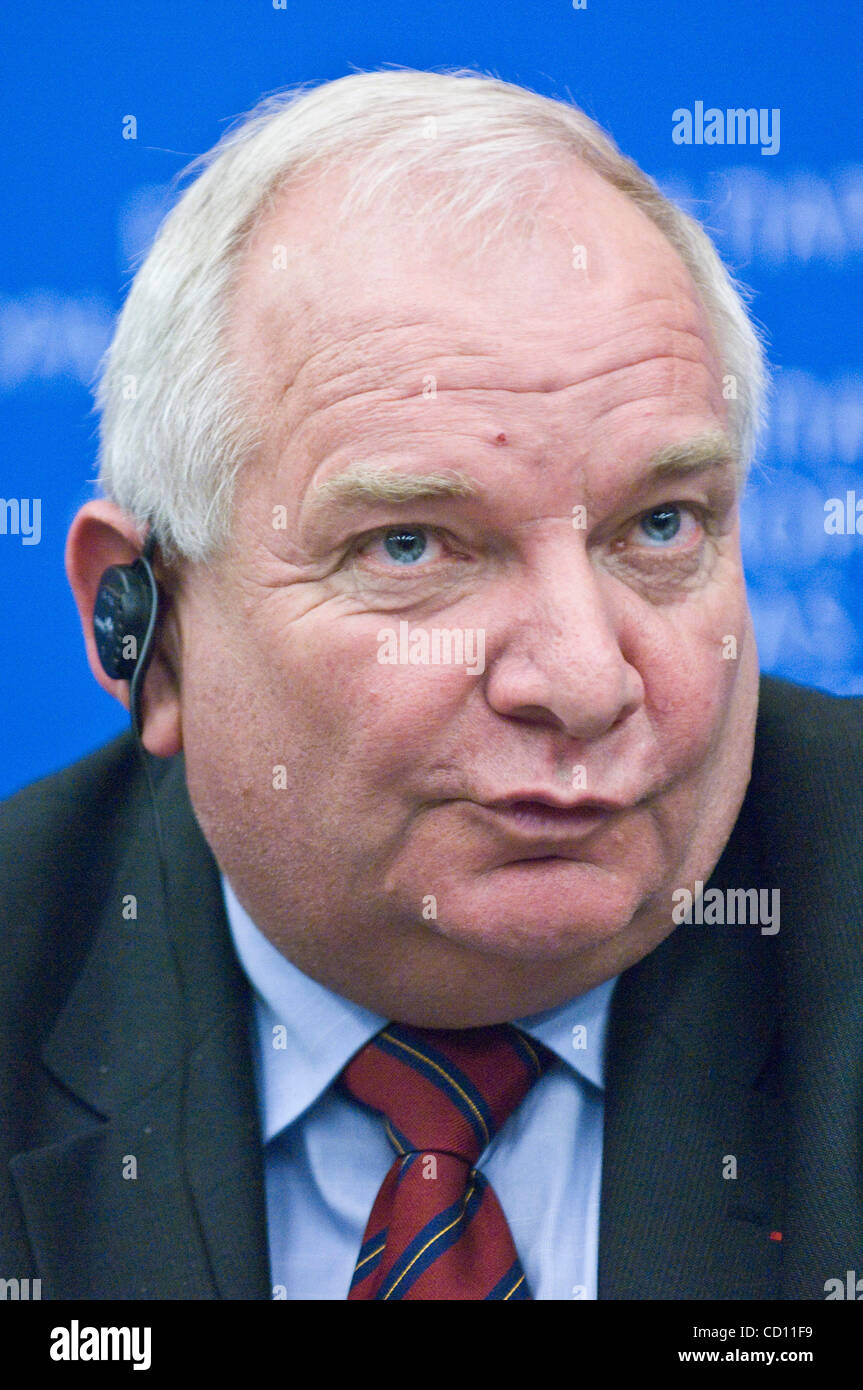 Member of the European parliament and President of PPE-DE parliamentary group Joseph Daul  attends a news conference Stock Photo