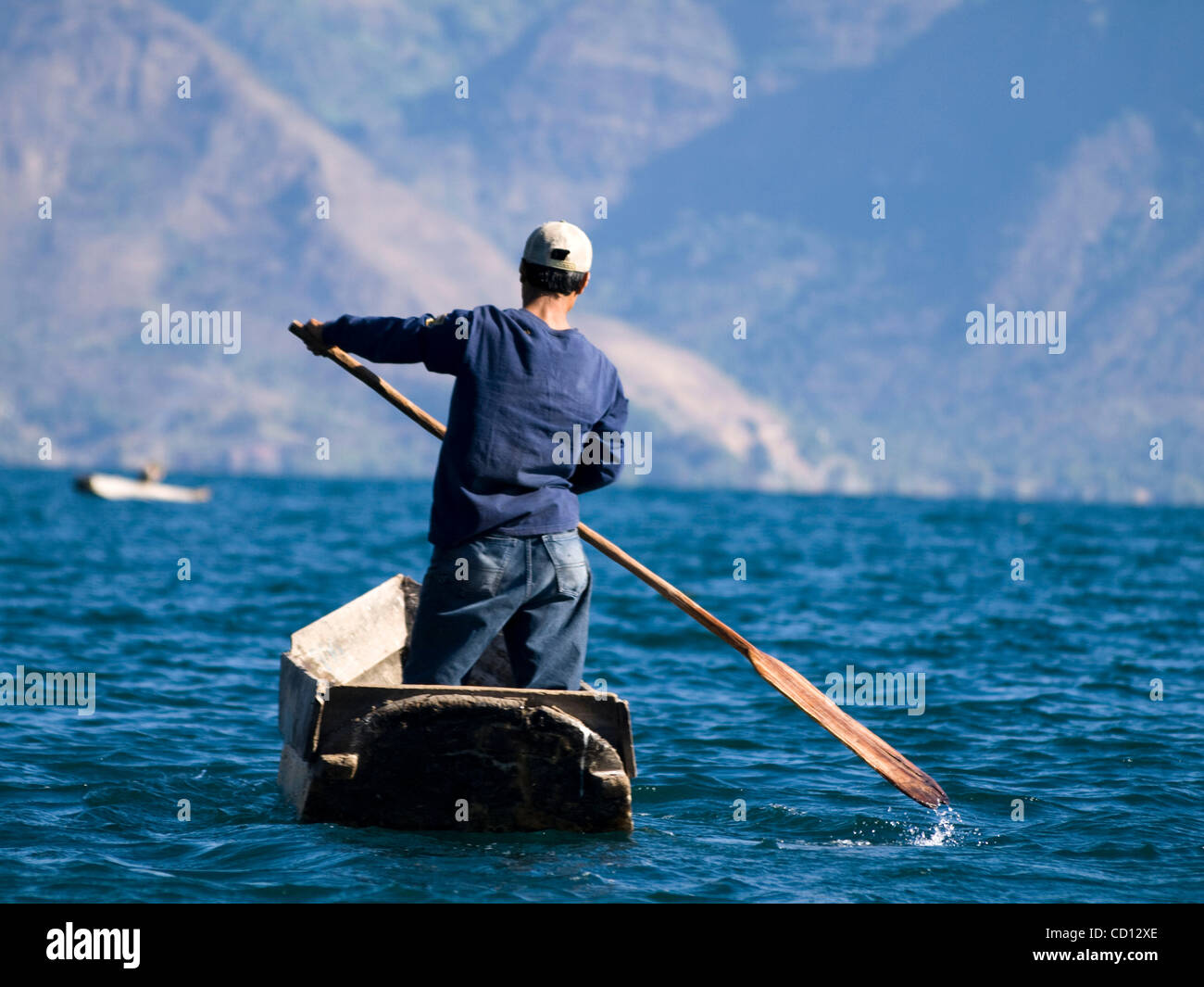 Fishermen on lake Atitlan in Santiago Atitlan, Guatemala - Stock Image