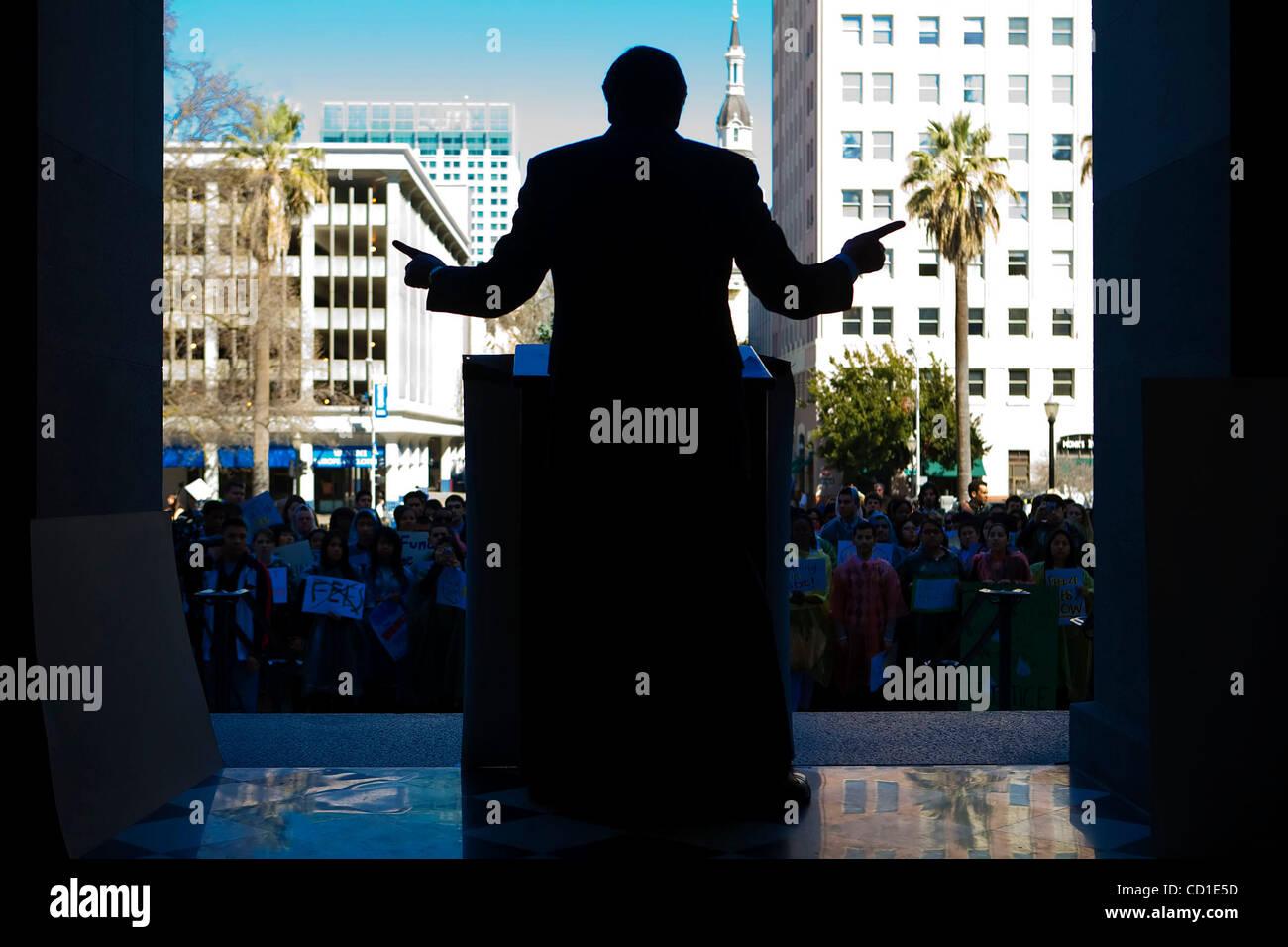 Lt. Gov. John Garamendi, addresses University of California students during their annual lobbying day at the State - Stock Image