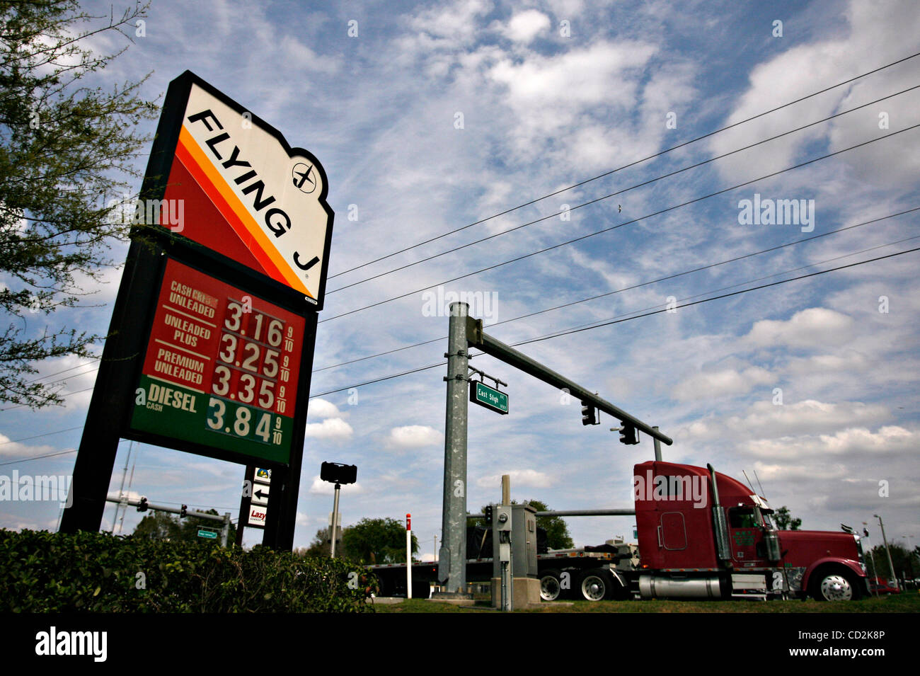 The price of diesel hit $3.84 at the Flying J Truck Stop along S.R. 579 in Seffner on Monday afternoon (3/9/08). - Stock Image