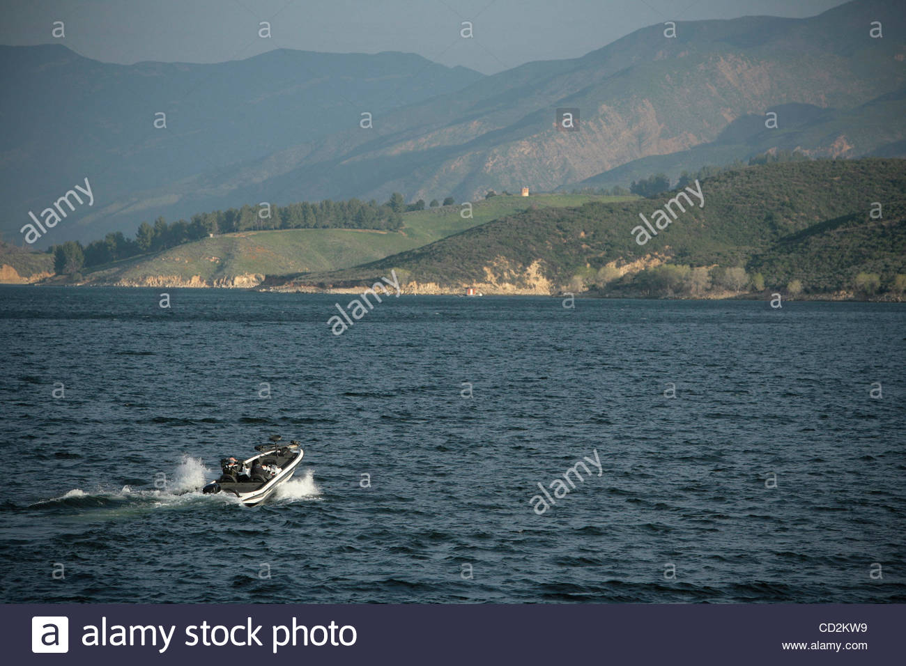 BAD MUSSELS--A beautiful day of fishing at Lake Castaic could be a thing of the past if mussels which have already - Stock Image