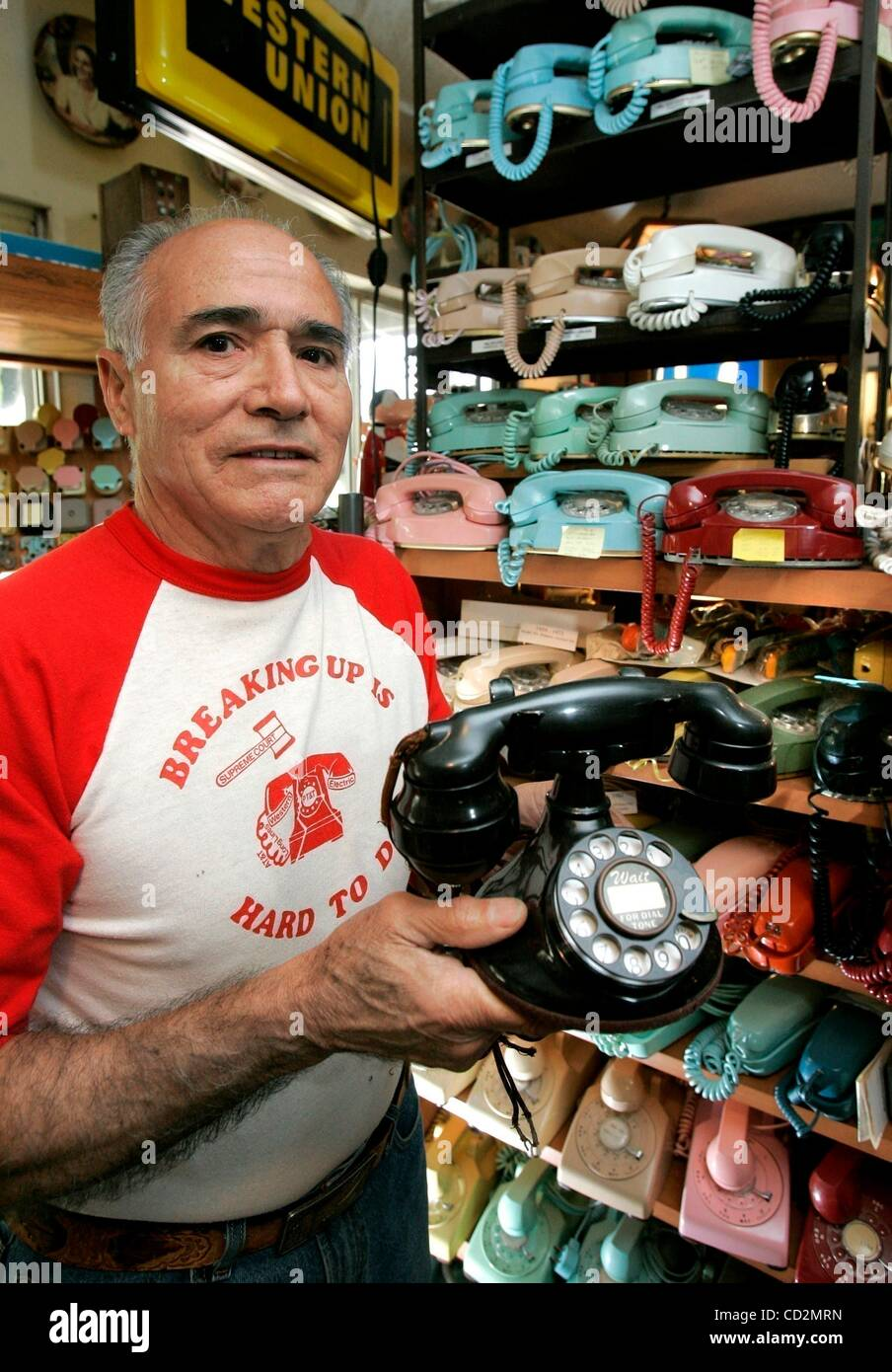 Mar 13, 2008 - San Diego, California, USA - Portrait of former phone company employee HERMAN ESQUIBEL with some - Stock Image