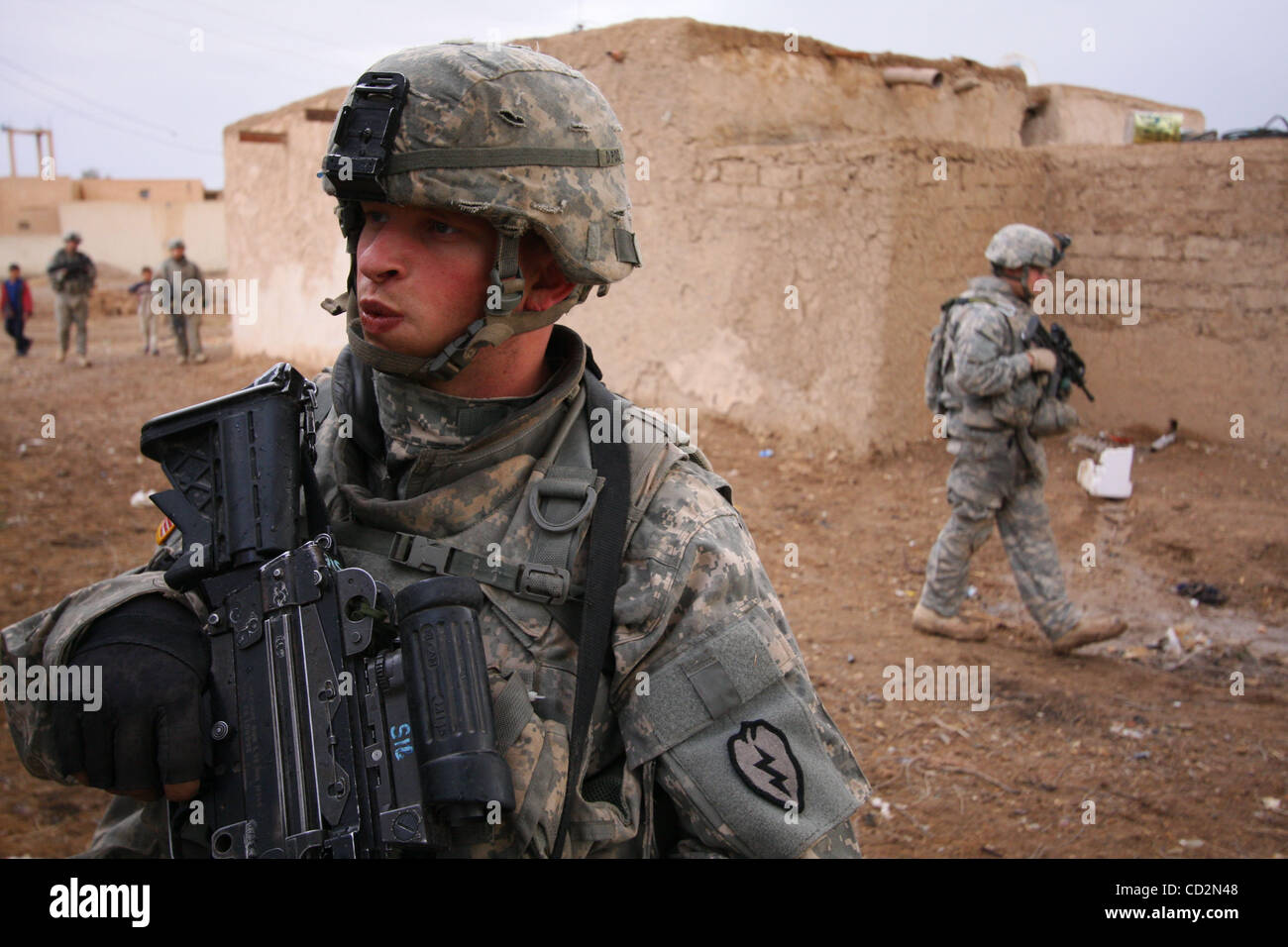Mar 13, 2008 - Baghdad, Iraq - Soldiers of Alpha Company, 1st Battalion, 27th Infantry Regiment of the 2nd Stryker Stock Photo