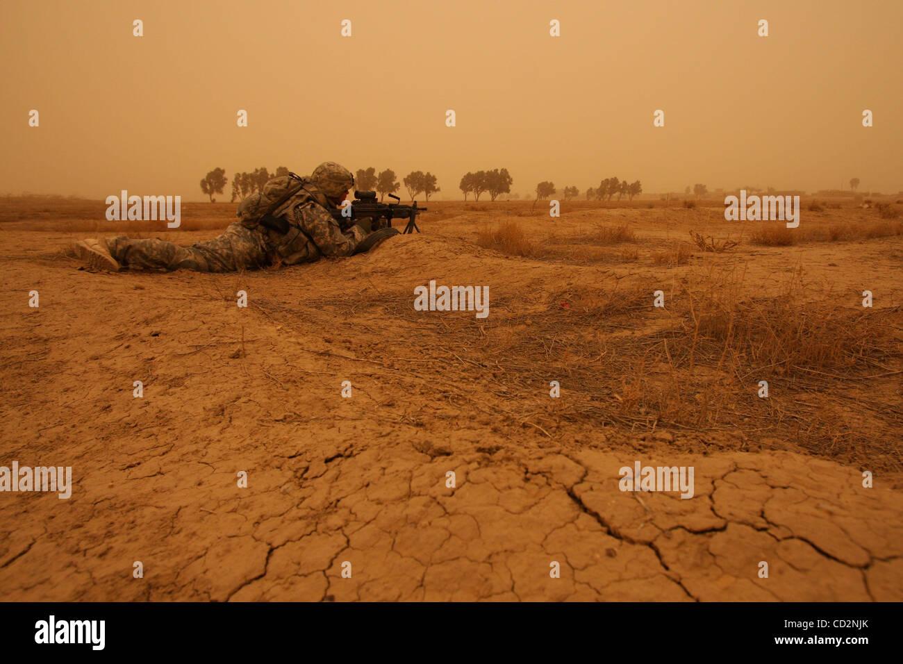 Mar 15, 2008 - Abu Assef, Taji, Iraq - Soldiers of Alpha Company, 1st Battalion 27th Infantry Regiment of 2nd Stryker Stock Photo