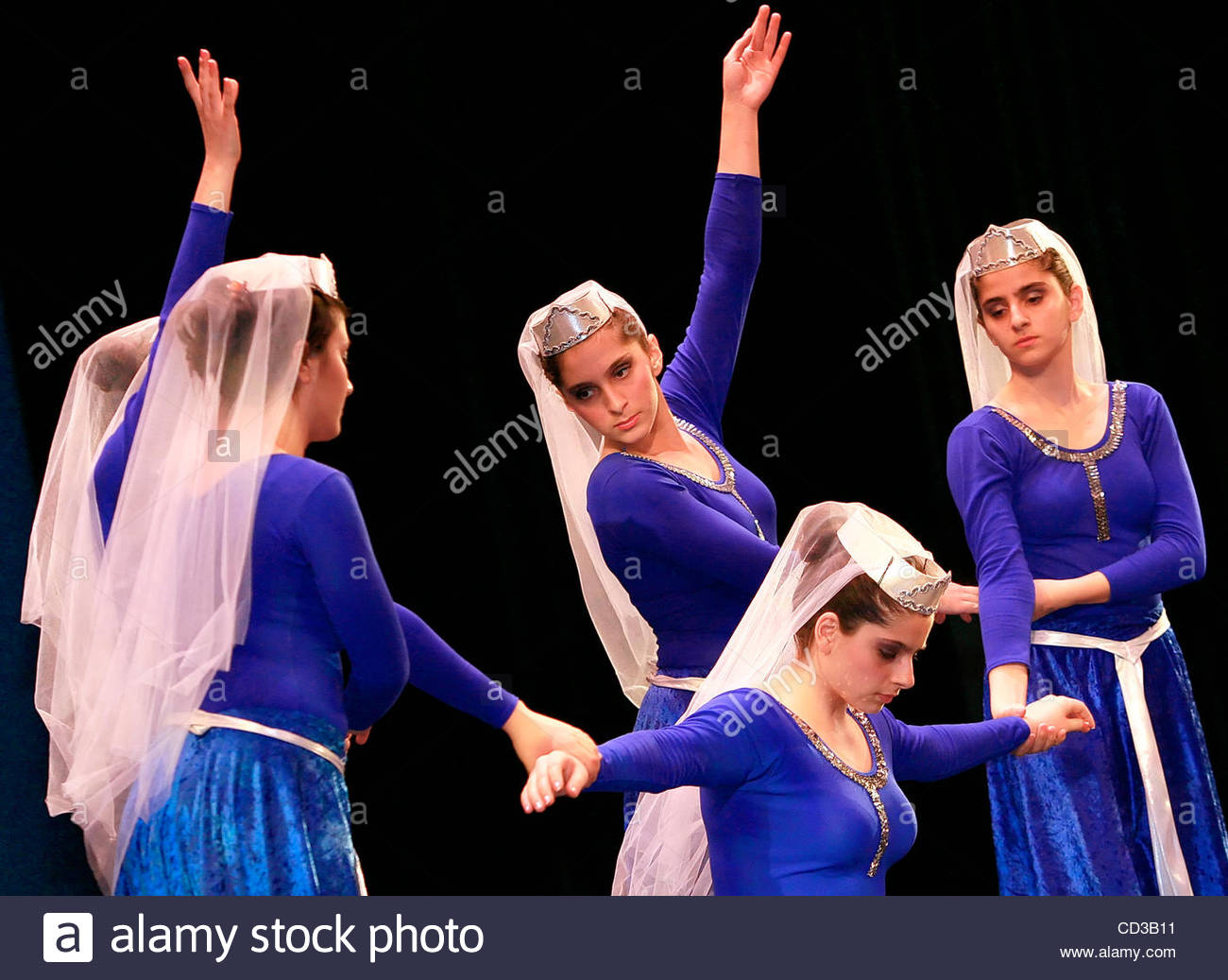 Glendale High School dancers performa traditional Armenian dance as one of the performances put on by high school - Stock Image