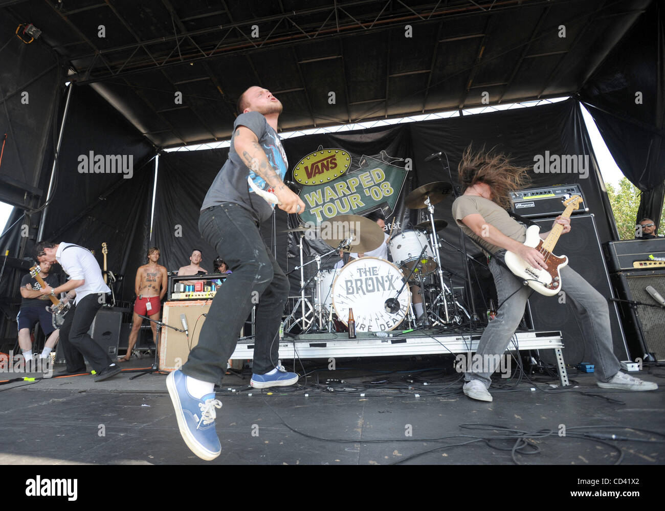 Jul 14, 2008 - Charlotte, North Carolina; USA - Musicians THE BRONX perform live as part of the 2008 Vans Warped - Stock Image