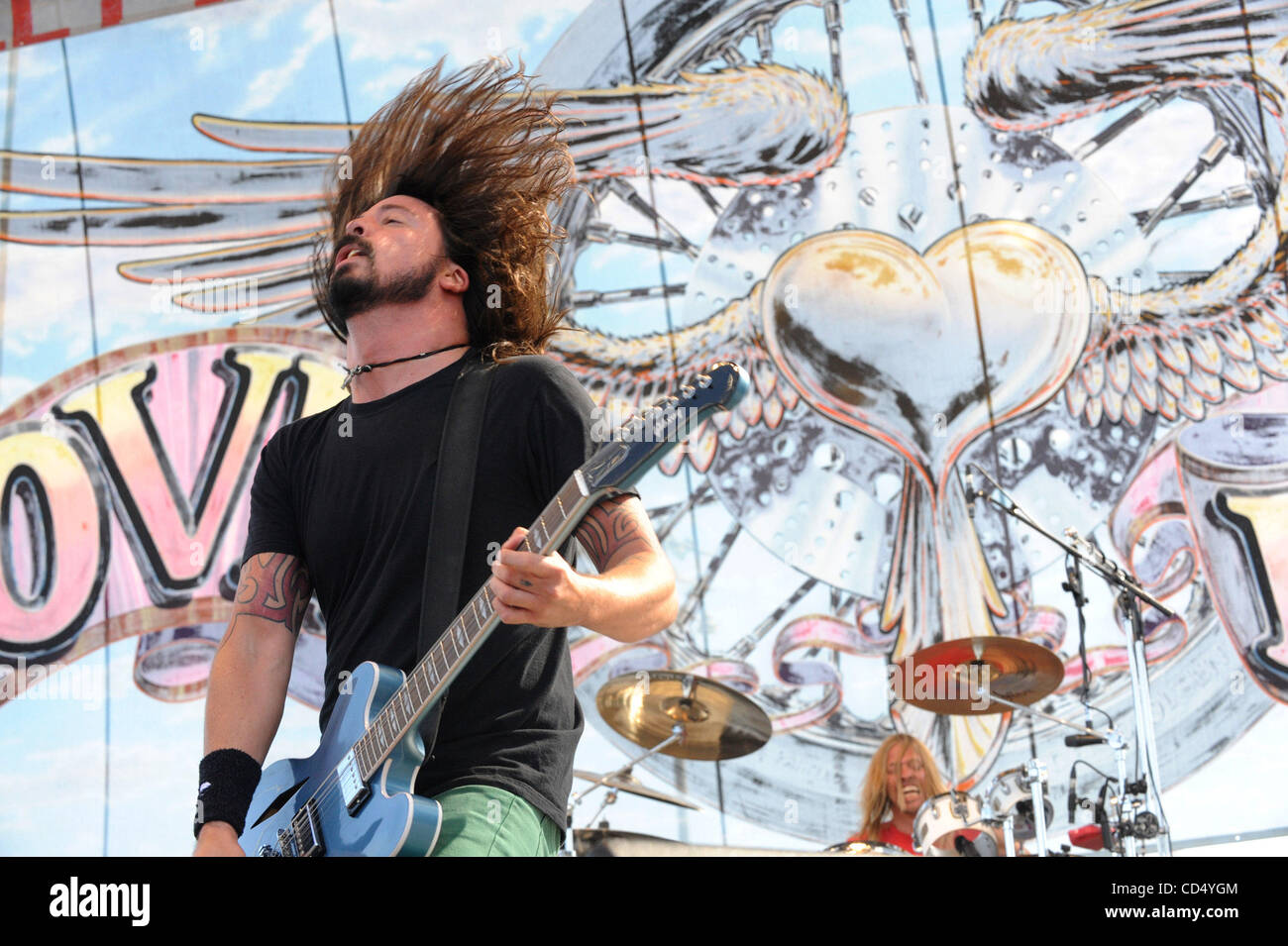 Oct 26.2008-Pomona, California, USA-Musician DAVID GROHL of the Foo Fighters at the 2008 Love Ride 25 held at the - Stock Image