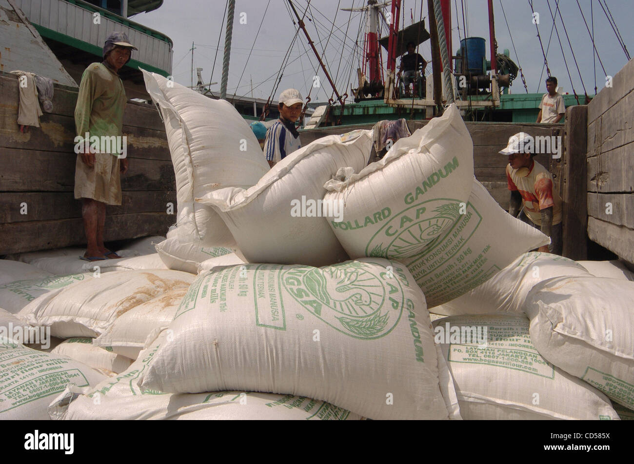 labourers load sacks of wheat onto a ship at the sunda kelapa port