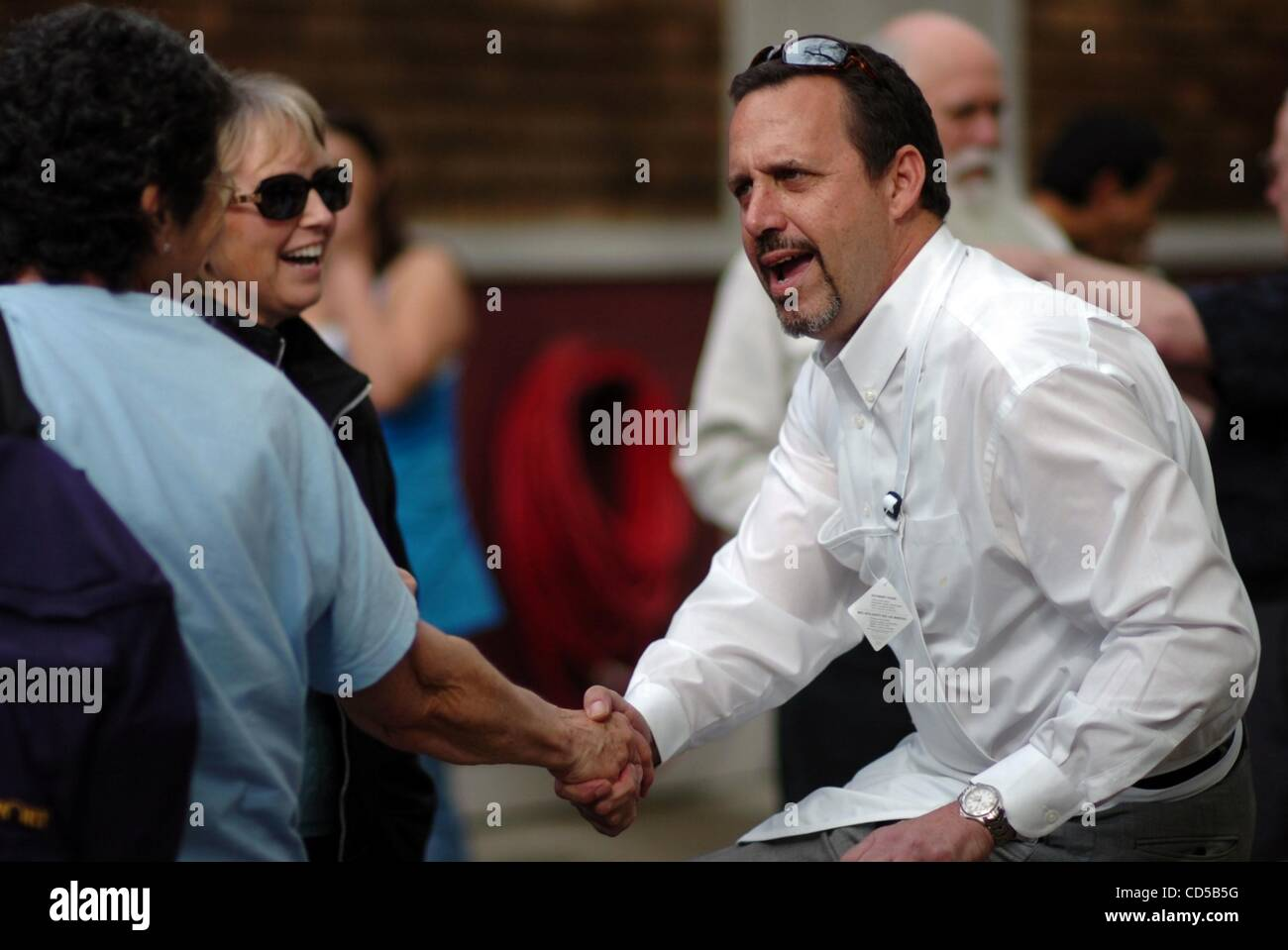 Mar 19, 2008 - Sacramento, California, USA - UC Davis head of building and grounds SAL GENITO greets visitors to - Stock Image