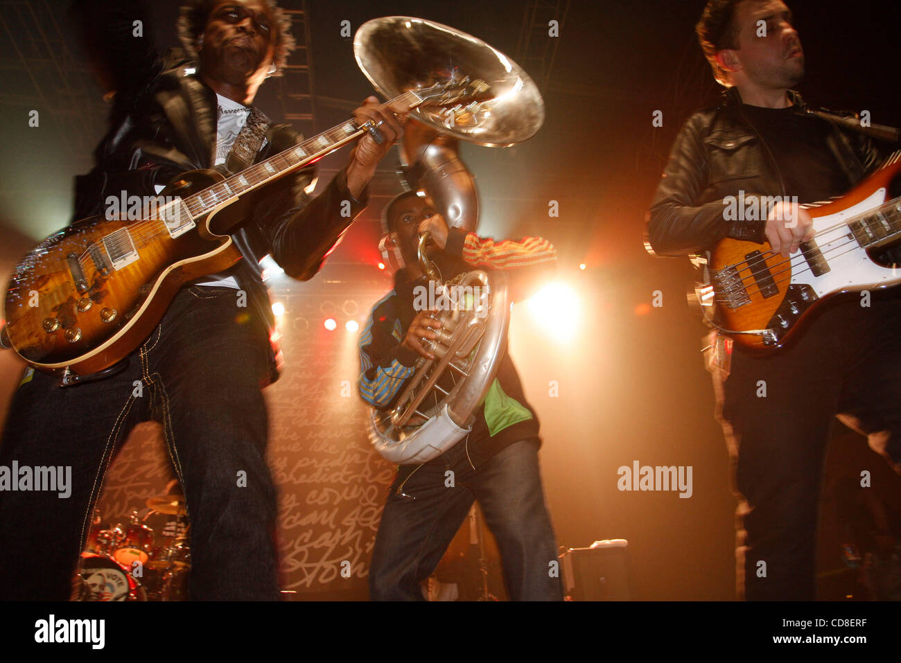 The Roots performing at Roseland Ballroom on October 28, 2008. Vocals -with cap and glasses , red jacket- Black Stock Photo