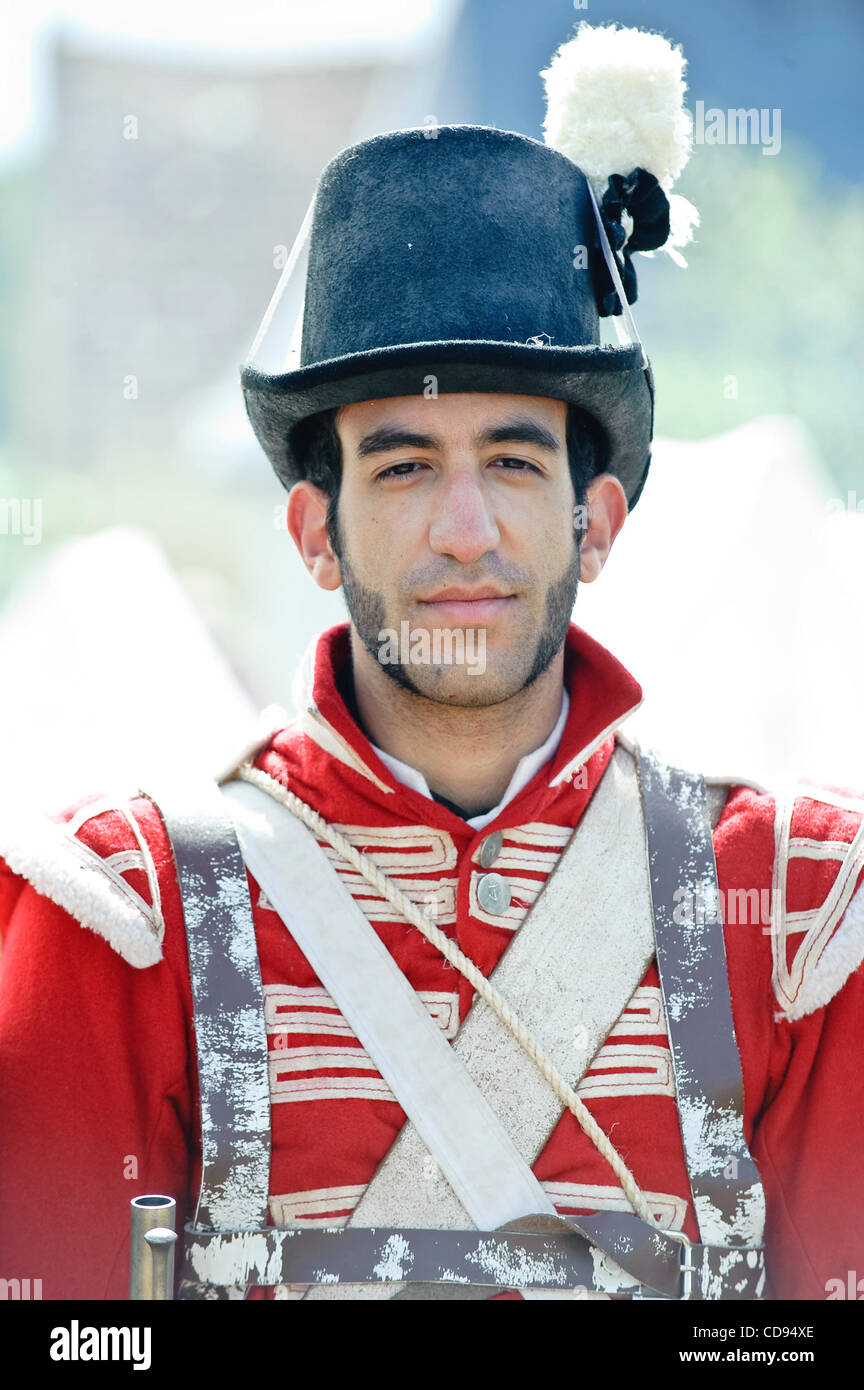 June 19, 2010 - Brussels, BXL, Belgium - Man dressed up as soldiers during re-enactment of  the 1815 Battle of Waterloo - Stock Image