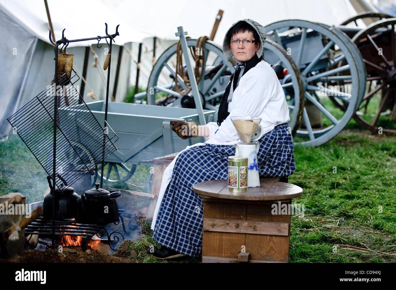 June 19, 2010 - Brussels, BXL, Belgium - Woman dressed up  during re-enactment of  the 1815 Battle of Waterloo between - Stock Image