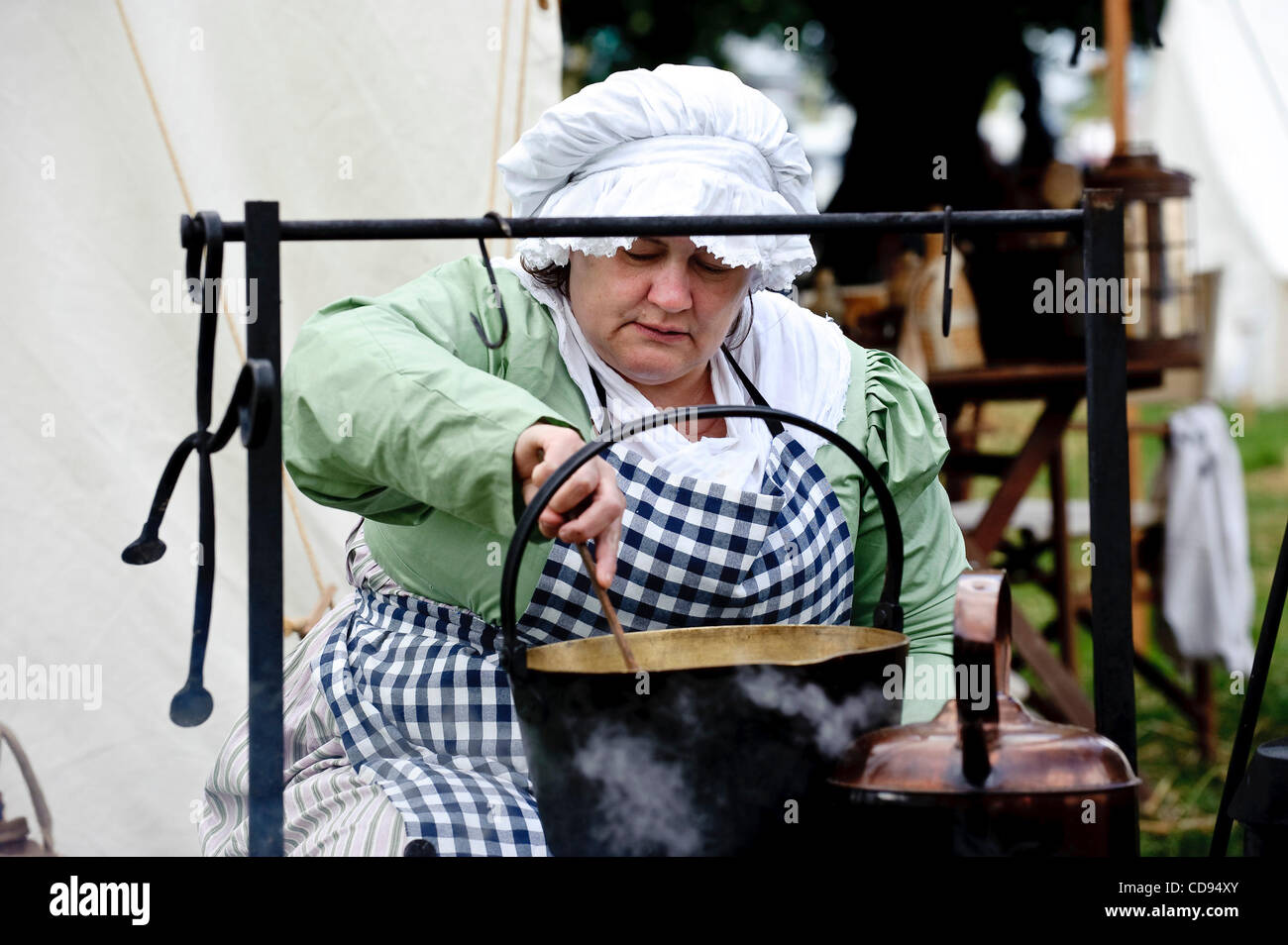 June 19, 2010 - Brussels, BXL, Belgium - Woman dressed up  during re-enactment of  the 1815 Battle of Waterloo between - Stock Image