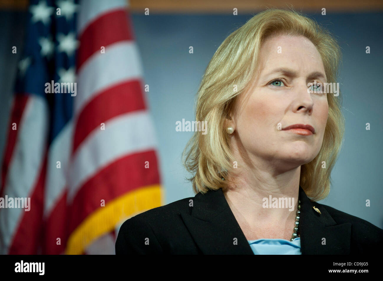 Jul 14, 2010 - Washington, District of Columbia, U.S., -  Senator Kirsten Gillibrand joined Senators Schumer, Menendez - Stock Image