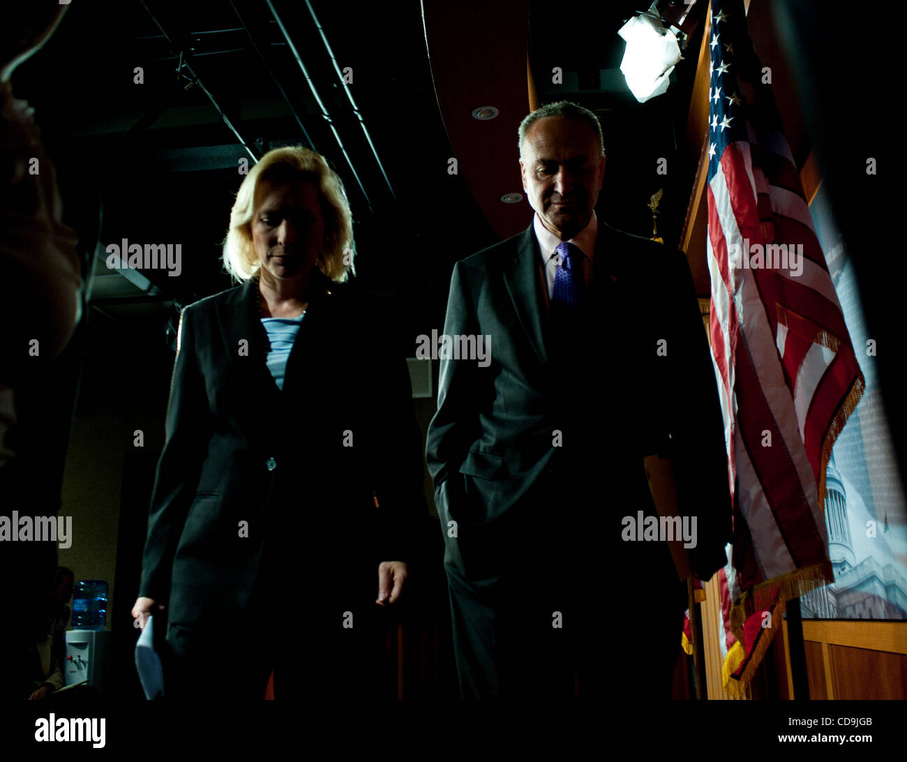 Jul 14, 2010 - Washington, District of Columbia, U.S., -  Senators Kirsten Gillibrand and Charles Schumer leave - Stock Image