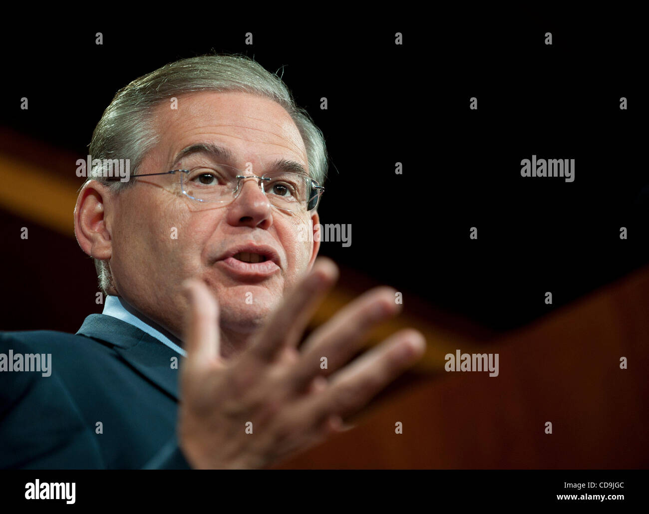 Jul 14, 2010 - Washington, District of Columbia, U.S., -  Senator Bob Menendez speaks to the press about urging - Stock Image