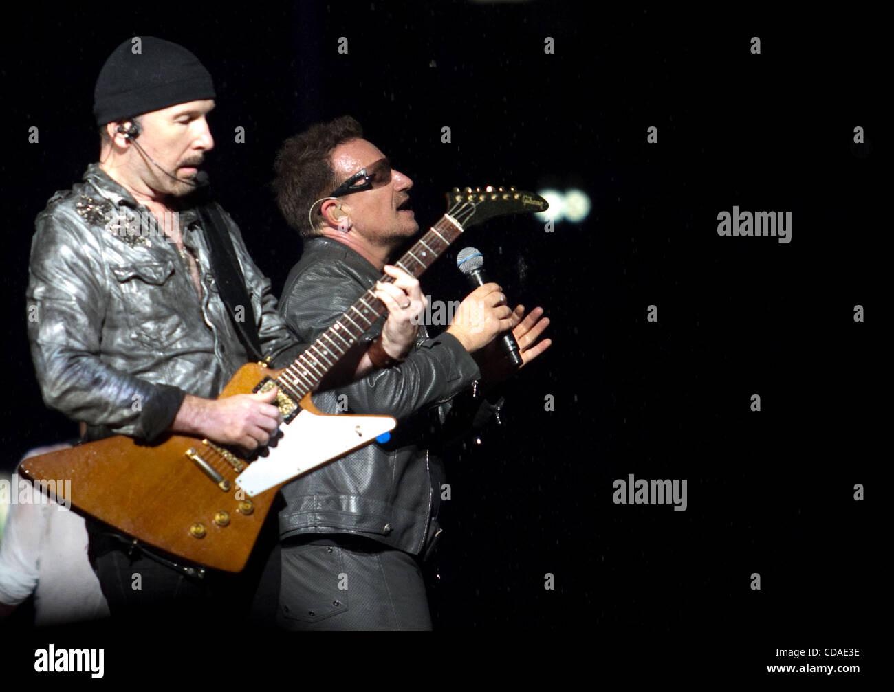 U2 Live at Luzhniki Stadium of Moscow Pictured: l-r U2