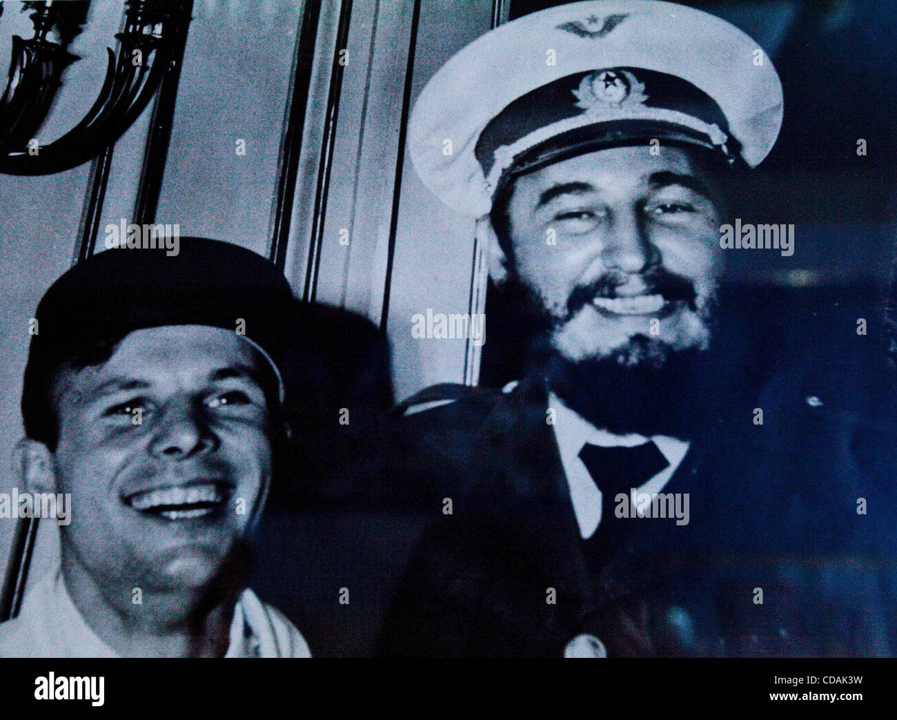 Sep 03, 2010 - Baikonur, Kazakhstan - Photo of YURI GAGARIN and FIDEL CASTRO. Gagarin visited Cuba after his victorious - Stock Image