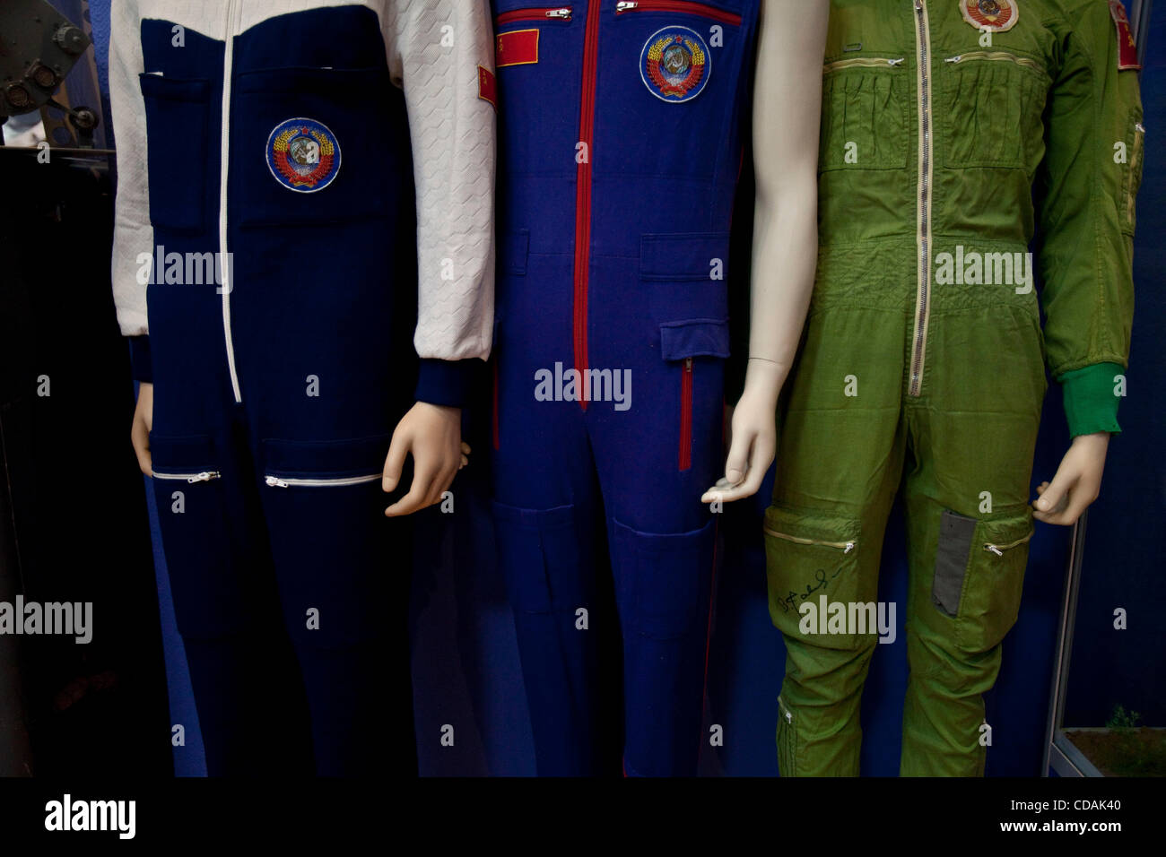 Sep 03, 2010 - Baikonur Cosmodrome, Kazakhstan - Sporty designs of sweat suits for russian cosmonauts, Museum of - Stock Image