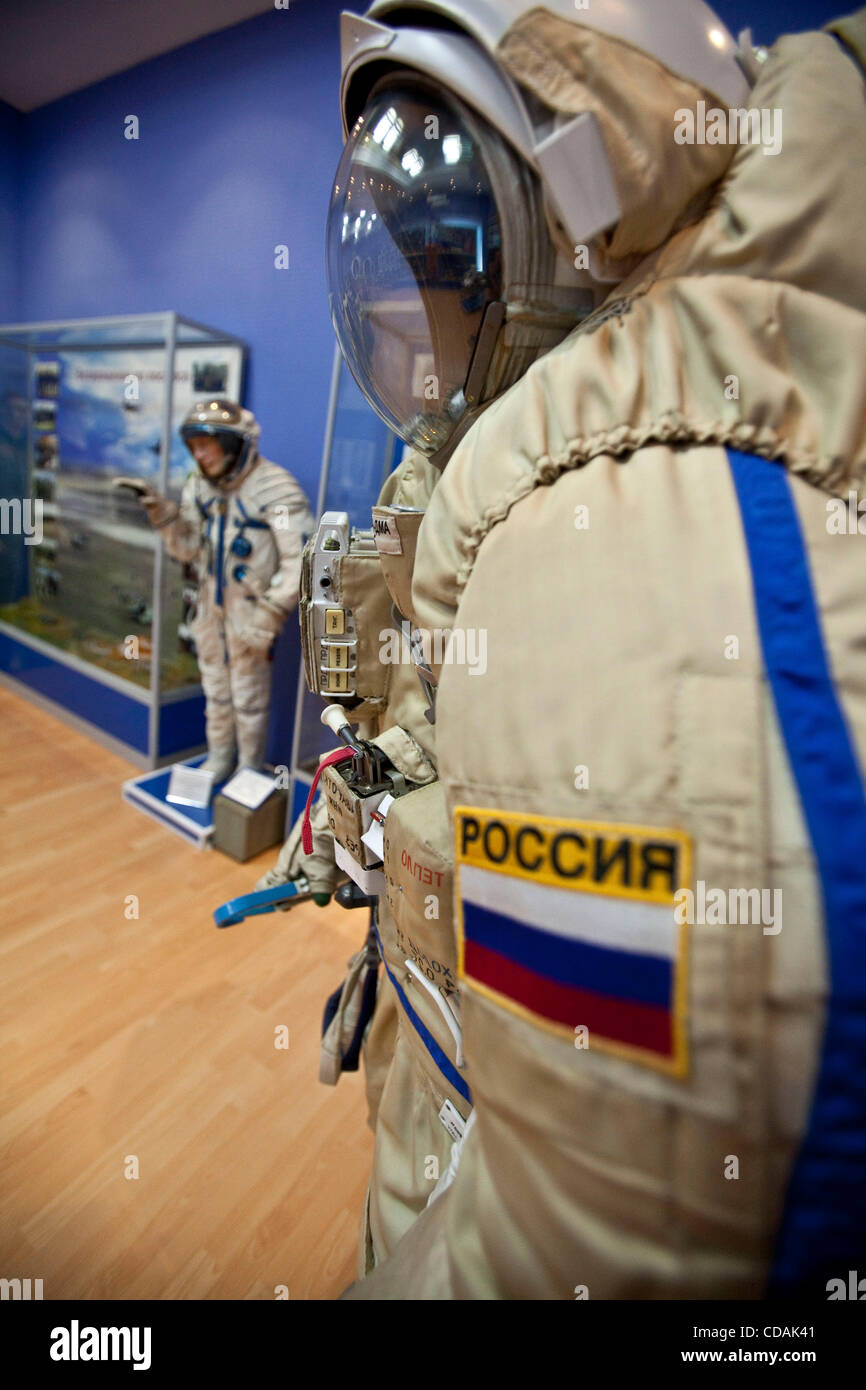 Sep 03, 2010 - Baikonur Cosmodrome, Kazakhstan - Space suit, on the right,  that was effectively in open space was - Stock Image