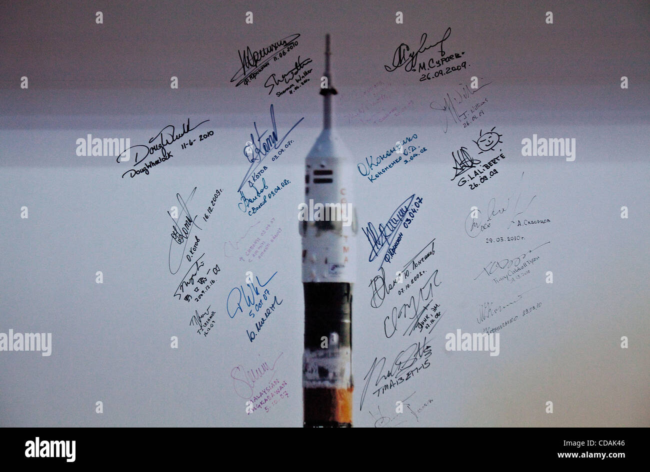 Sep 03, 2010 - Baikonur Cosmodrome, Kazakhstan - Poster showing Soyuz rocket with signatures of the cosmonauts that - Stock Image