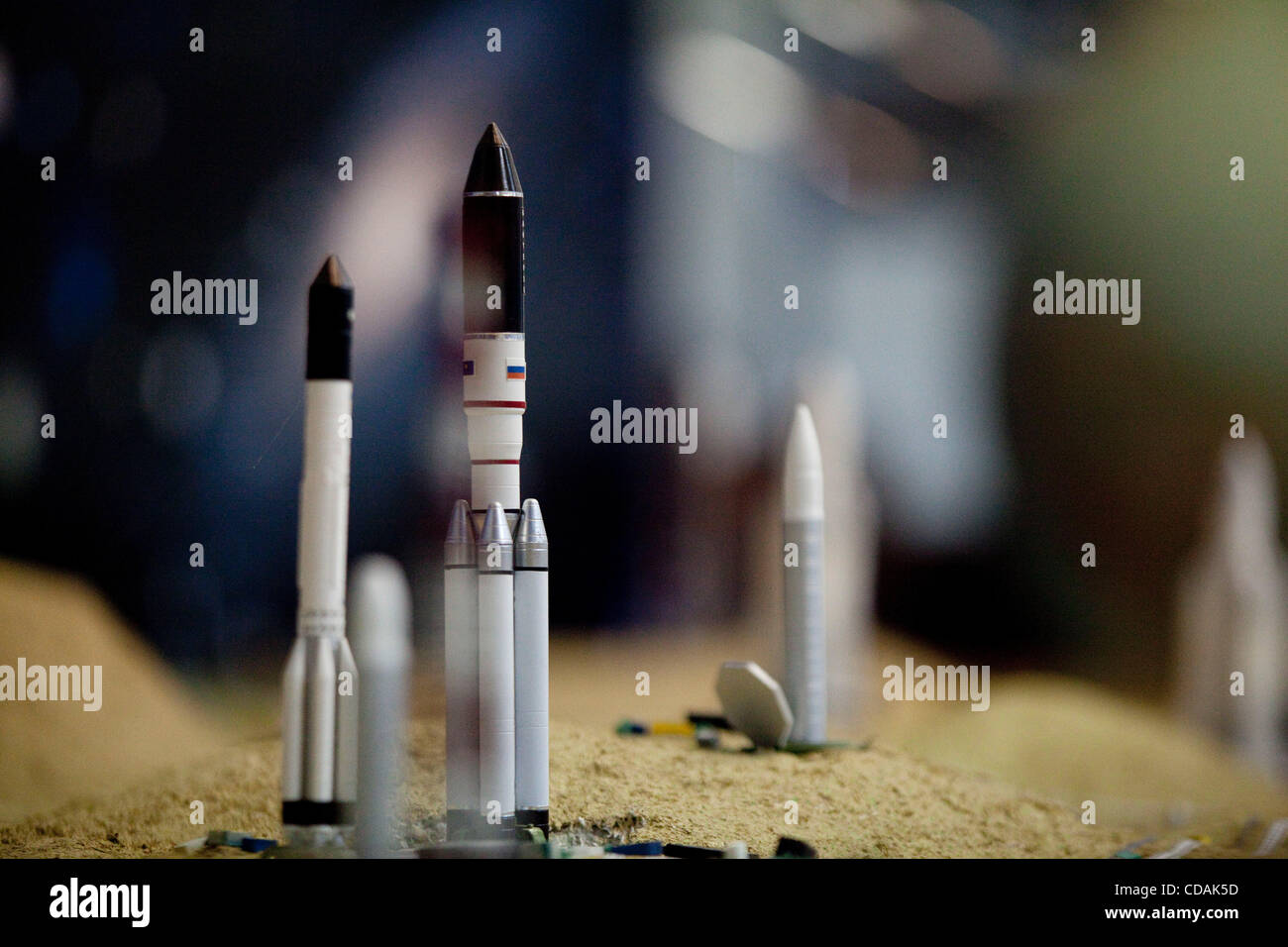 Sep 03, 2010 - Baikonur, Kazakhstan - Baikonur cosmodrome model of Soyuz rocket on launch pads, Museum of Baikonur - Stock Image