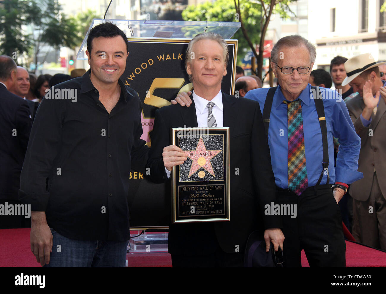Sep 14, 2010 - Hollywoodwood, California, USA - LARRY KING & Actor SETH MACFARLANE joins BILL MAHER as he Receives Stock Photo