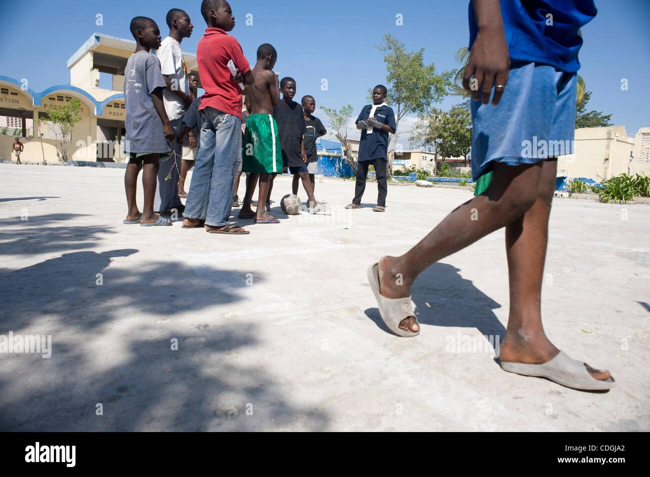 Jan 16, 2011 - Port Au Prince, Haiti - Children play in what was once one of the Duvalier's more notorious prisons, - Stock Image