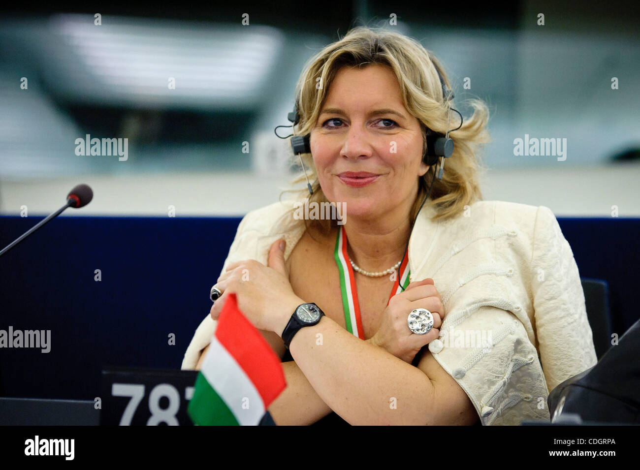 Jan. 19, 2011 - Strasbourg, Alsace, France - Hungarian member of EP Krisztina MORVAI (MEP) listens  as Hungarian - Stock Image