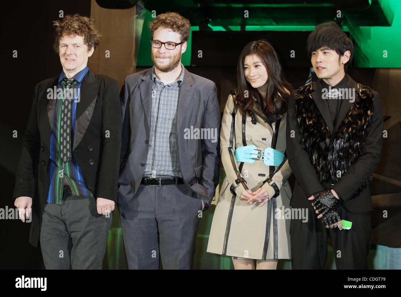 Jan. 20, 2011 - Tokyo, Japan - (L to R) Director MICHEL GONDRY, Canadian actor SETH ROGAN, Japanese actress RYOKO - Stock Image