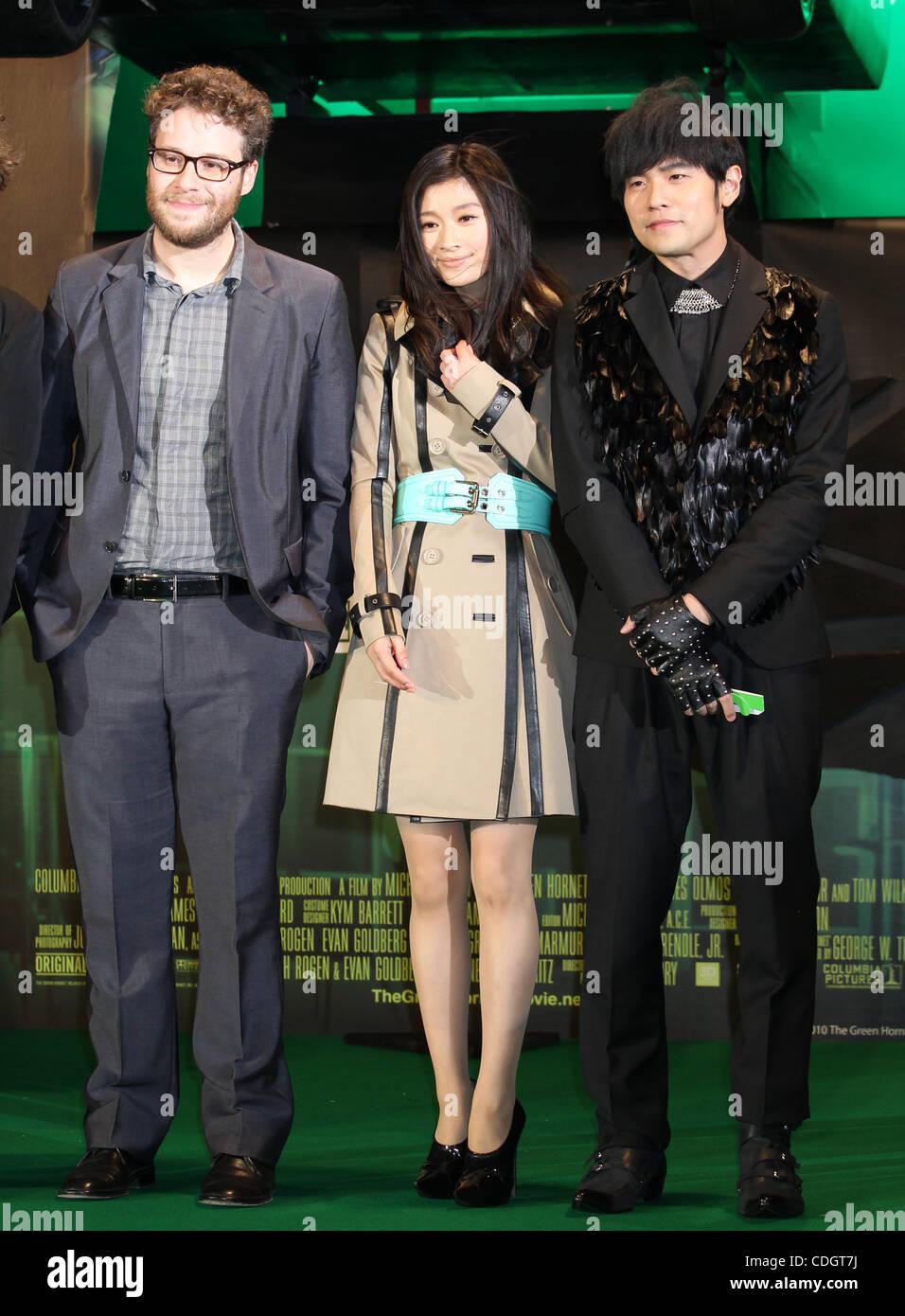 Jan. 20, 2011 - Tokyo, Japan - (L to R) Canadian actor SETH ROGAN, Japanese actress RYOKO SHINOHARA and Taiwanese - Stock Image