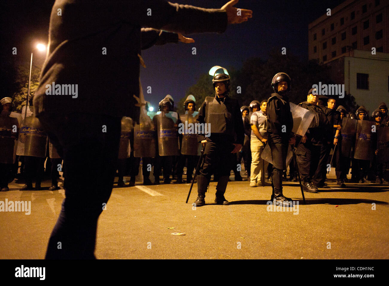 Jan. 25, 2011 - Cairo, Cairo, Egypt - 20110125 - Cairo, Egypt - ..Swirls of protests around Cairo came together - Stock Image