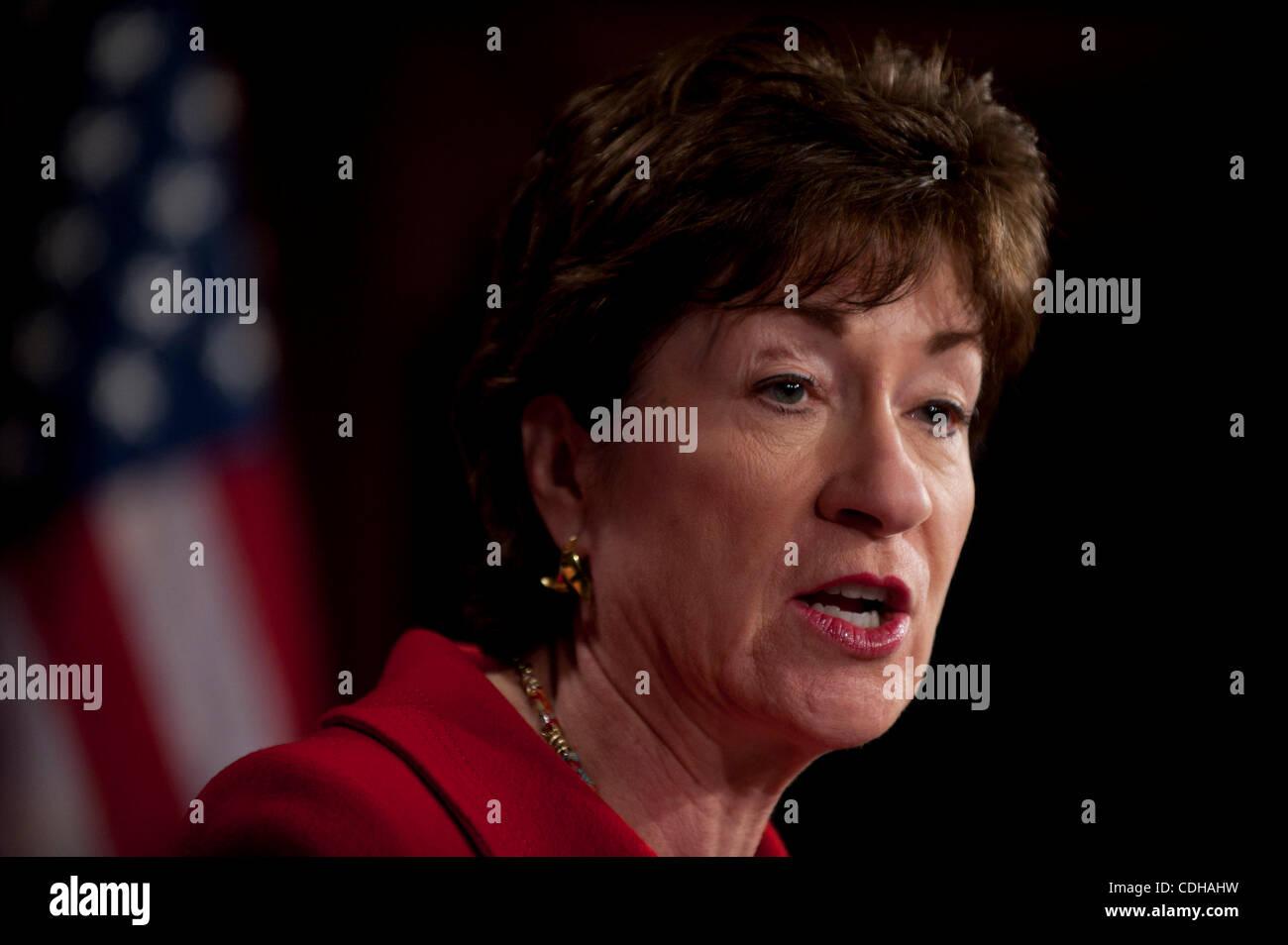 Feb 1, 2011 - Washington, District of Columbia, U.S. - Senator SUSAN COLLINS, (R-MA) during a news conference to Stock Photo
