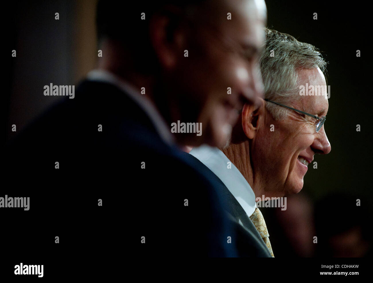 Feb 1, 2011 - Washington, District of Columbia, U.S. - The Senate Majority Leader HARRY REID (D-NV) speaks to the - Stock Image
