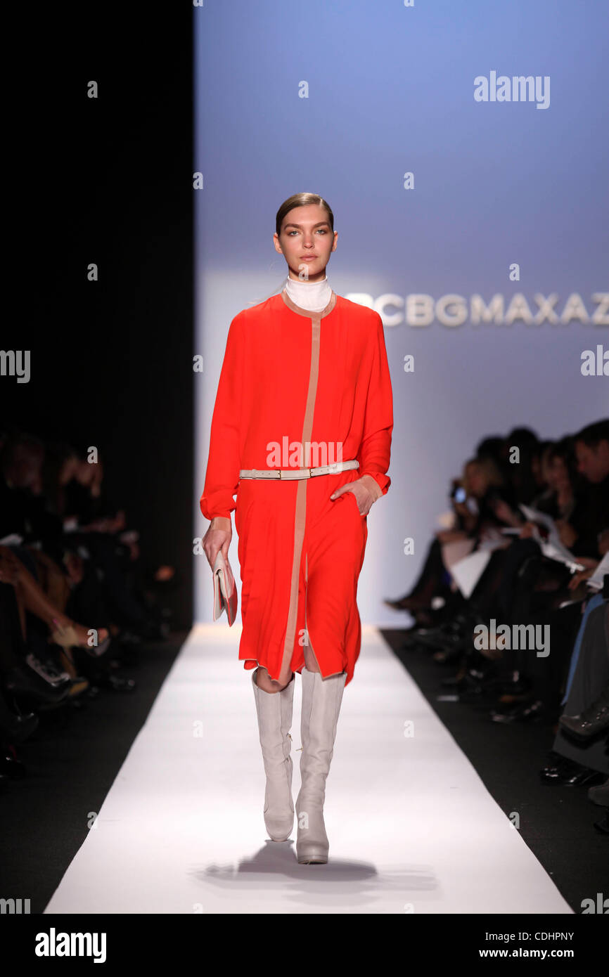 A model walks the runway at Mercedes Benz Fashion Week Fall, Winter 2011 during the BCBG MAX AZRIA collection at - Stock Image