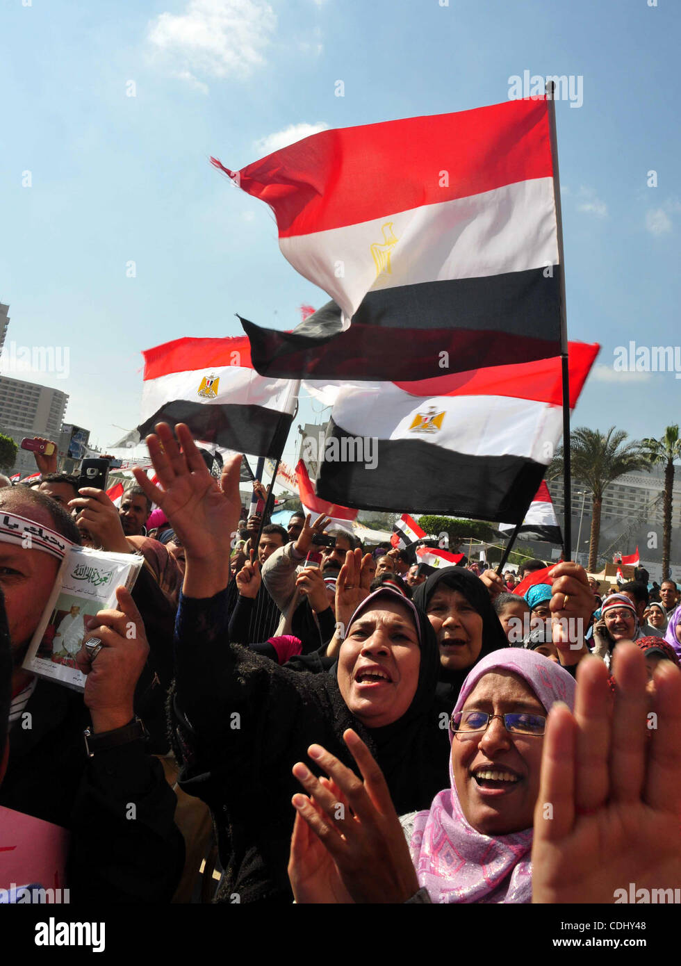 Egyptians celebrate and wave national flags in Tahrir Square in Cairo, Egypt, Saturday, Feb. 12, 2011. Egypt exploded Stock Photo