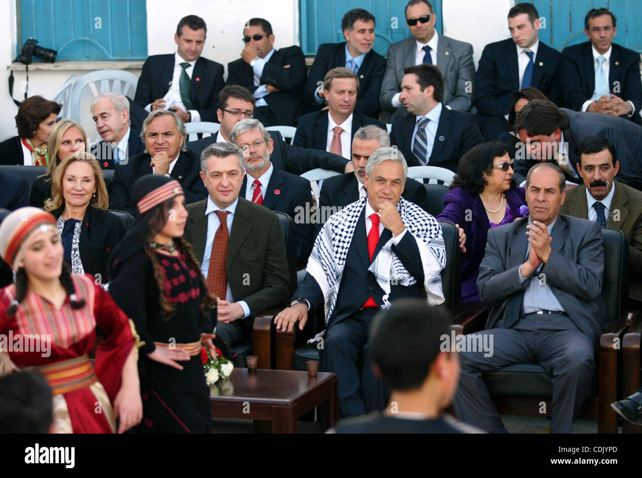 Chilean President Sebastian Pinera and his wife Cecilia Morel are greeted by Palestinian during their arrival at - Stock Image