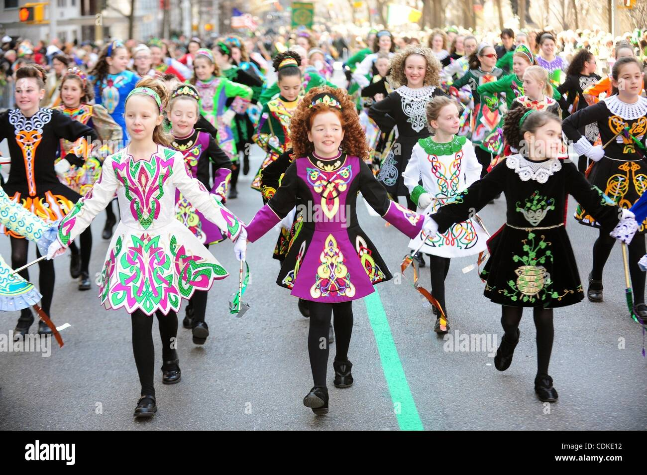 Mar. 17, 2011 - Manhattan, New York, U.S. - Dancers perofm during the 250th annual St. Patrick's Day Parade - Stock Image