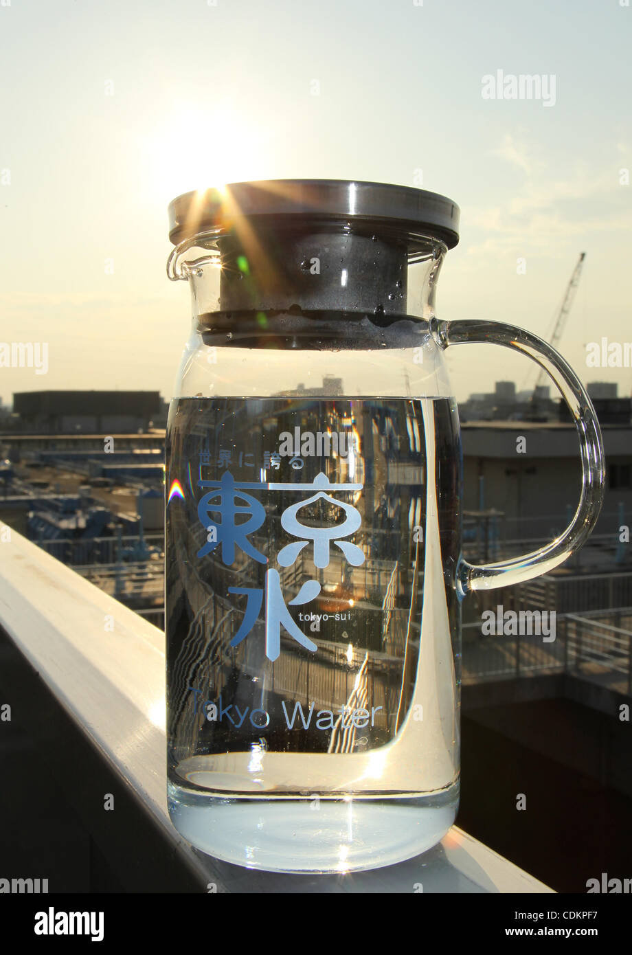 Mar. 24, 2011 - Tokyo, Japan - Water generated from the Kanamachi Water Purifying Plant in Tokyo, Japan. Due to - Stock Image