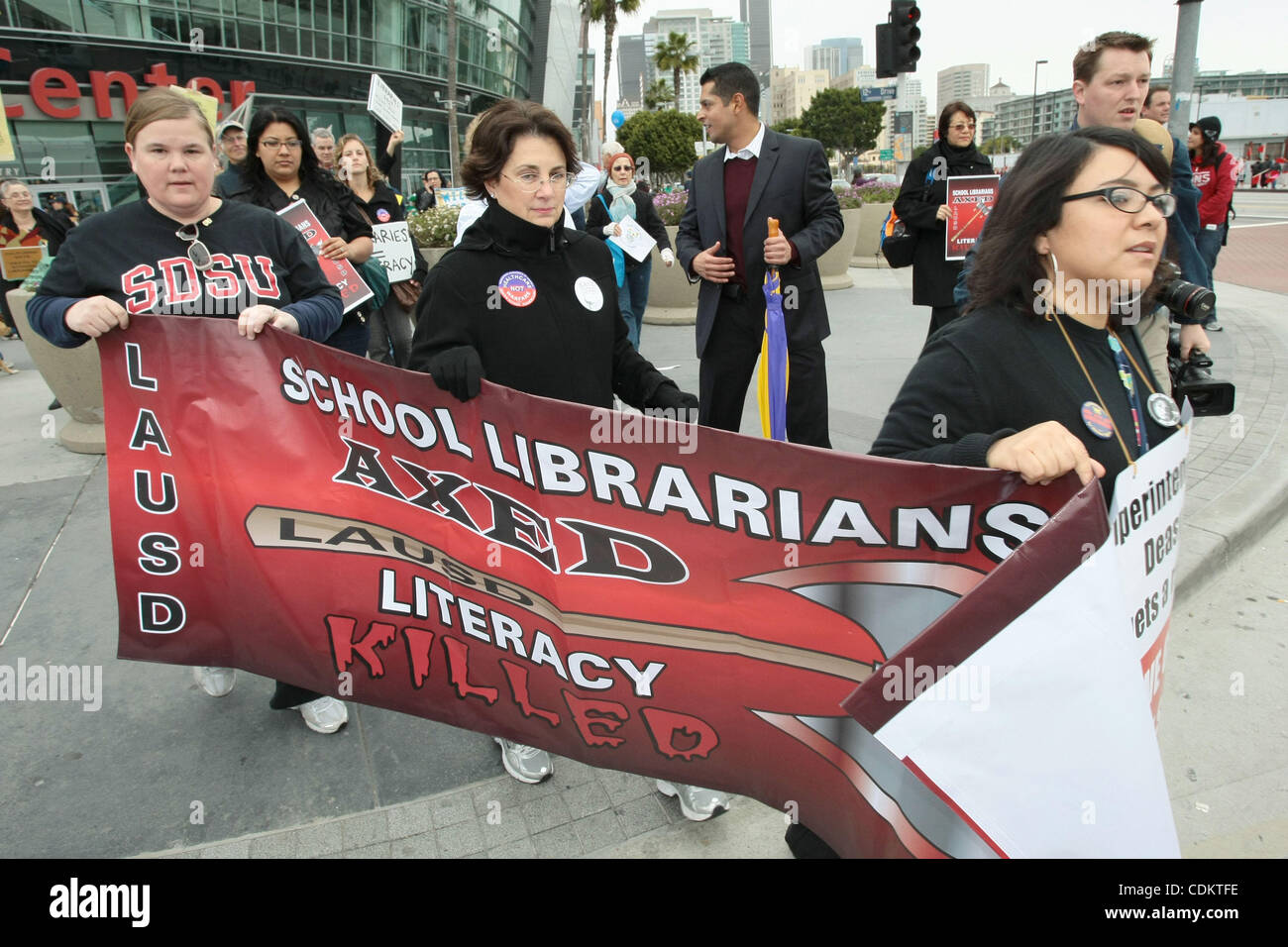 Mar 26, 2011 - Los Angeles, California, U.S. - School librarians march for LAUSD (Los Angeles Unified School District). - Stock Image