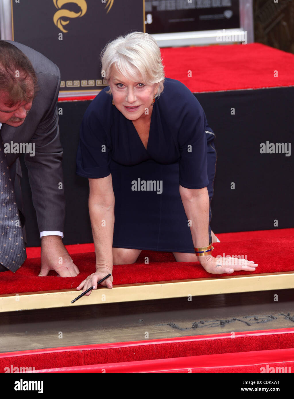 Mar. 27, 2011 - Hollywood, California, U.S. - Helen Mirren Hand & Foot Print Ceremony at Grauman's Chinese theater. Stock Photo