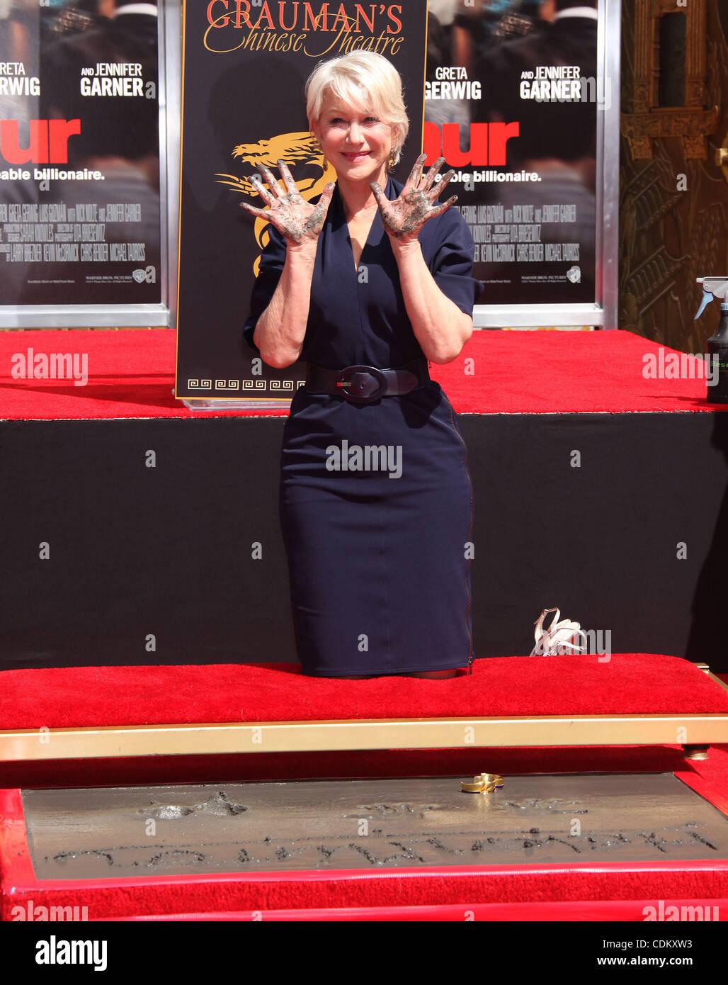Mar. 27, 2011 - Hollywood, California, U.S. - Helen Mirren Hand & Foot Print Ceremony at Grauman's Chinese theater. Stock Photo