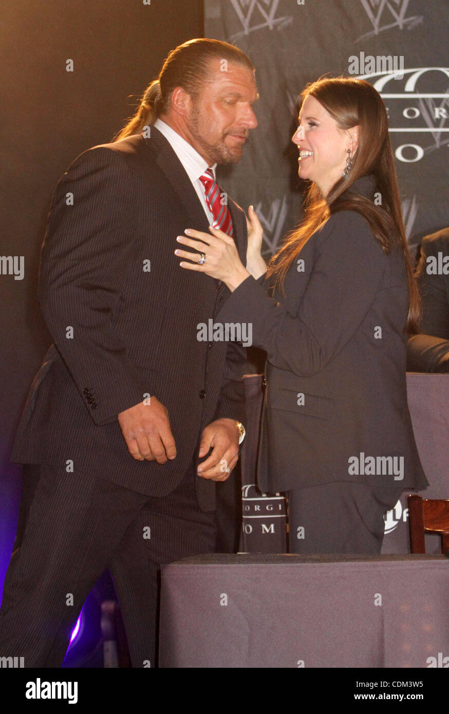 Mar. 30, 2011 - New York, New York, U.S. - WWE Superstar TRIPLE H and STEPHANIE MCMAHON attend the WrestleMania - Stock Image